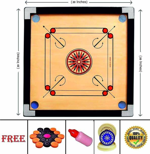 URBAN HAAT Matte Plywood Finish 26 Inch Carrom Board Along with Wooden Coins, Stiker and Disco Powder (26*26 Inch) Carrom Board Board Game