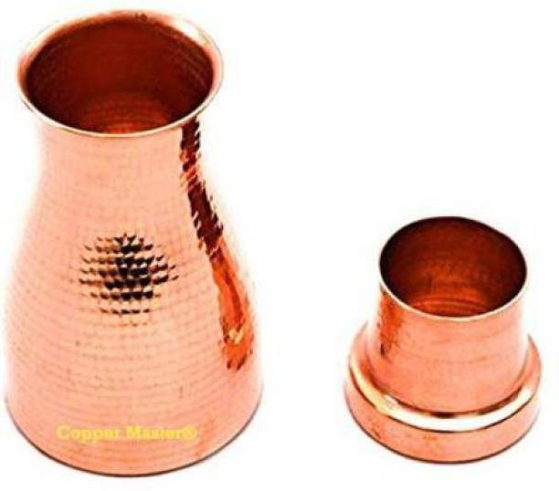 Copper Master Hammered Finish Bedroom Copper Bottle with Inbuilt Glass, Drink Ware, 1100 ml Bottle