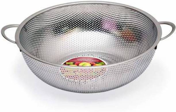 Fing Stainless Steel Kitchen Fruit Vegetable Rice Washing Baskets Strainer Drainer with Handle - Silver Collapsible Strainer