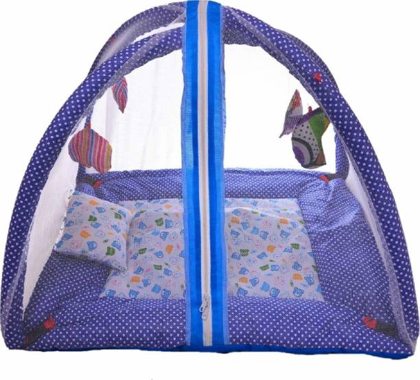 little monkeys New Born Baby Bedding Sets with Mosquito Net and Baby Play Gym with Net,hanging toys and comfortable pillow Infants Cotton Bed,-P (Navy Blue)
