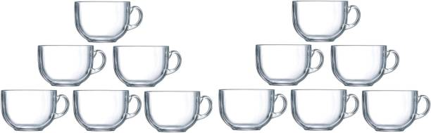 speculo Pack of 12 Glass Crystal clear Round Shape Glass Tea Coffee Cup With Saucer Set Of 12 Glass