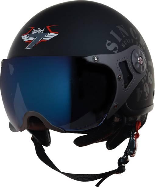 Steelbird SB-27 7Wings Tank Open Face Graphic Helmet in Matt Black/Grey Motorbike Helmet