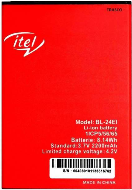 Trasco Mobile Battery For  Itel BL-24EI/ Itel A40/ A41 Plus/ Wish A41/ Wish A41 Plus/ A44 Air/ A44 Pro/ A46 / it1508