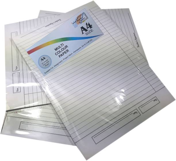 MAJESTIC BASKET High Quality One Side Ruled White Project/ Assignment/ Practical / Homework Sheets [60 Sheets - Set of 3] One Sided Ruled A4 90 gsm Multipurpose Paper