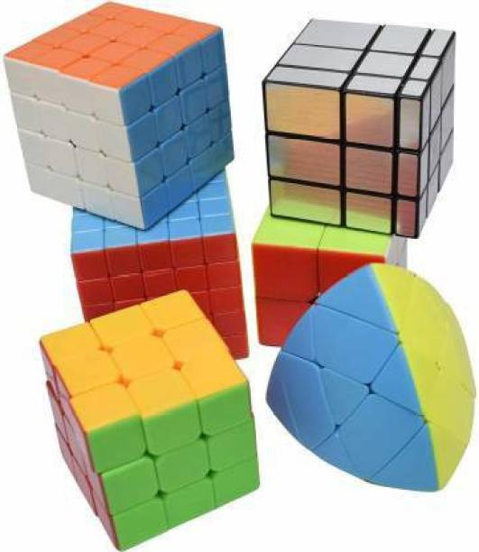 M-Alive Cubes Pack 2x2, 3x3, 4x4, 5x5, Silver Mirror, MasterMorphix Different Shaped Puzzle Cube Combo Set Contains Speed-Cube