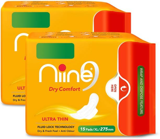 niine Ultra Thin Sanitary Pads for women Extra Long, (Pack of 2) Re-Sealable Packaging with Wrap and Dispose Feature, 30 Pads Count Sanitary Pad (Super Saver Pack) Sanitary Pad