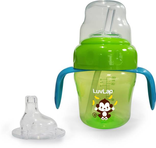 LuvLap Banana Time Sipper / Sippy Cup 150ml, Anti-Spill Design with Soft Silicone Spout and Straw, 6m+