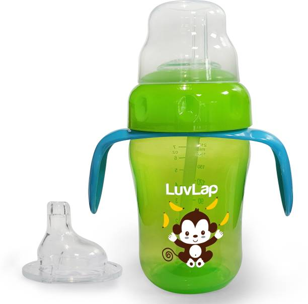 LuvLap Banana Time Sipper / Sippy Cup 210ml, Anti-Spill Design with Soft Silicone Spout and Straw, 6m+ (Green)