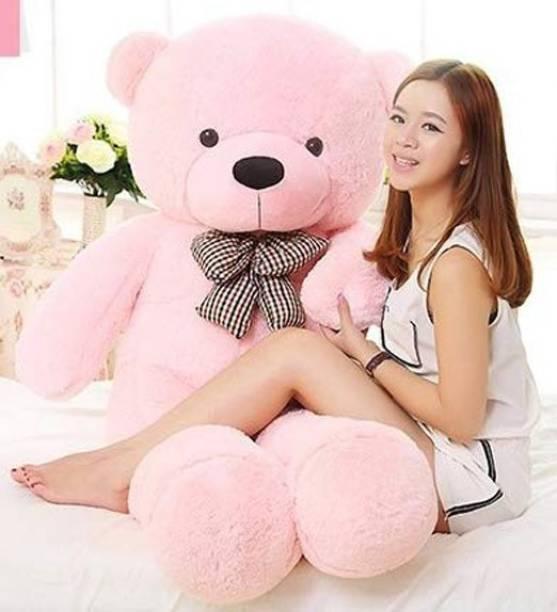 TRUELOVER 4.5 feet pink teddy bear / high quality / neck brow / cute and soft teddy bear - 136 cm (Pink)  - 136 cm