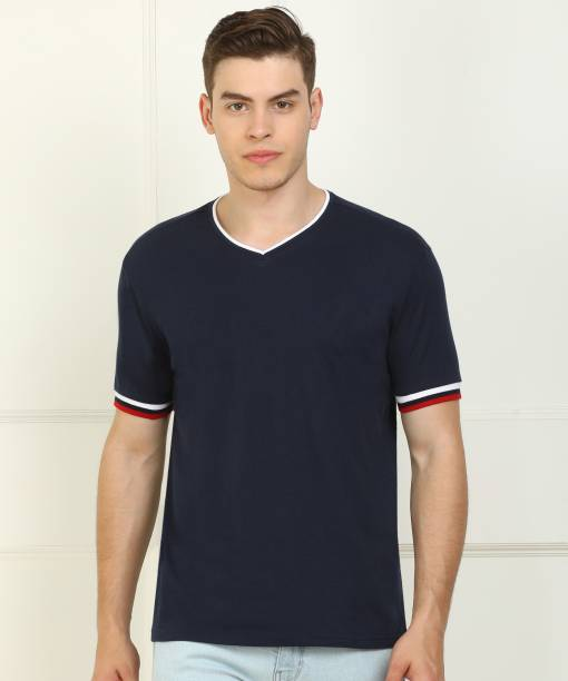 Billion Solid Men V Neck Dark Blue T-Shirt