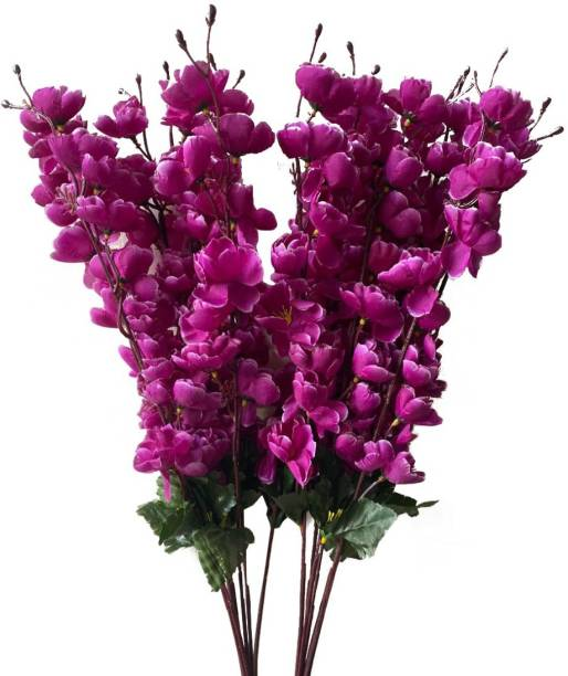 Ryme Combo Of Purple Color Orchids Artificial Flower Bunch For Home Decoration (Pack Of 2) Purple Orchids Artificial Flower