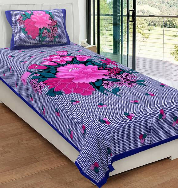 METRO LIVING 104 TC Cotton Single Floral Bedsheet