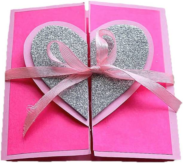 Gaurangi card Valentines Day Pink Silver Heart Greeting Card For Lover - Scrapbook Cards - I Love You Card For Boyfriend Girlfriend Husband Wife Greeting Card