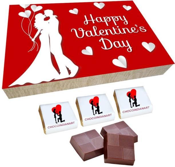 CHOCOINDIANART Beautiful Happy Valentine's Day, 12pcs Chocolate Gift Box, Truffles