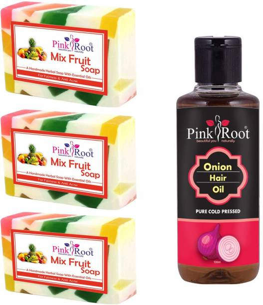 PINKROOT Mix Fruit Soap Pack of 3 with Onion Hair Oil 100ml