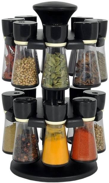 ATMAN 360° Revolving Spice Rack Masala Rack Spice Box Masala Box Masala Container Spice Designer Stand Set Multipurpose Revolving Plastic Spice Rack Storage Rack Jar Condiment Set (Set Of 16 Piece) 1 Piece Spice Set