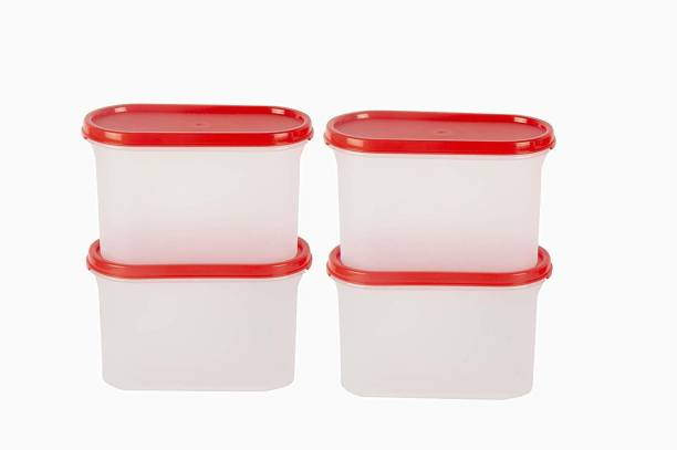 Cutting EDGE Pack of 4 | 1200 ml Each | Red |Modular Containers Oval with Plain Lids Set for Cereals, Pulses, Snacks, Stackable  - 1200 ml Plastic Grocery Container