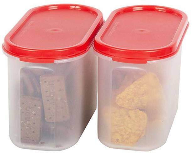Cutting EDGE (Pack of 2, Red) 1200 ml each|Modular AirTight Food Storage Container Set for |Rice | Dal | Atta | Flour|Cereals |Pulses  - 1200 ml Plastic Grocery Container
