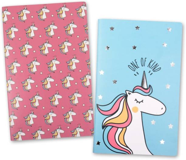 doodle Unicorn Sparkle Set Of 2 Diary A5 Diary Ruled 80 Pages