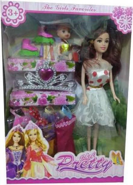 LooknlveSports Fashion D001 Doll Pretty Girl With Accessories (Multicolor) (Multicolor)