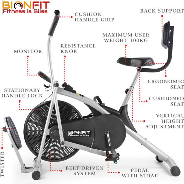 BIONFIT | Air Bike Exercise Cycle For Home Gym Curved Moving with Twister & Back Support Dual-Action Stationary Exercise Bike