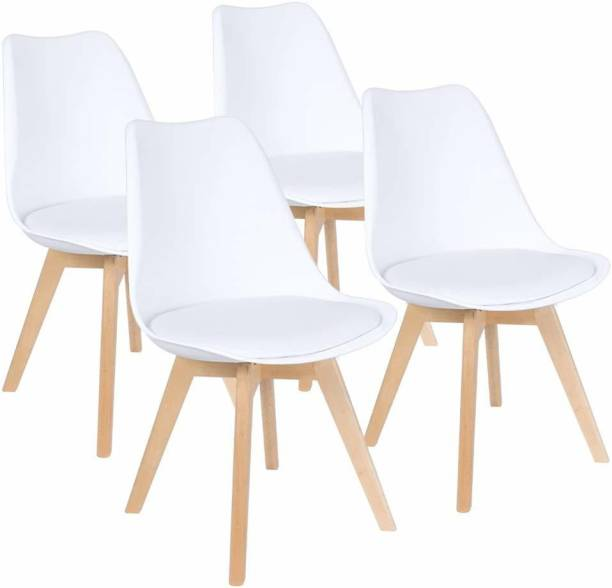 Urbancart Backrest and Padded Seat Cushion Side Chairs with Sturdy Wooden Legs(White)(Set of 4) Solid Wood Living Room Chair