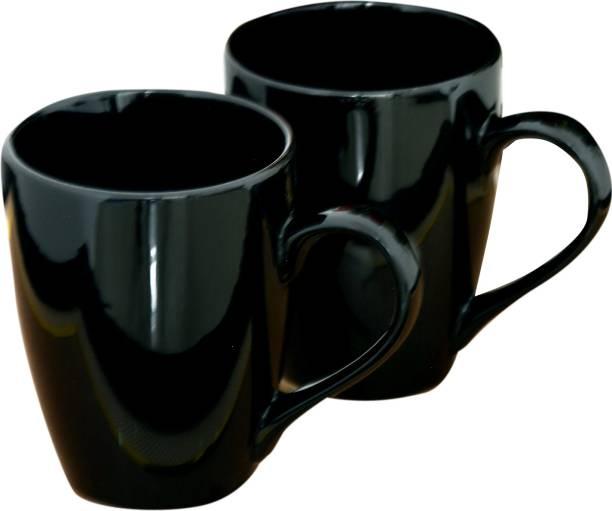 Bobby Designs Ceramic Handmade Glossy Black Coffee/Milk/Teas Set of 2. Ceramic Coffee Mug