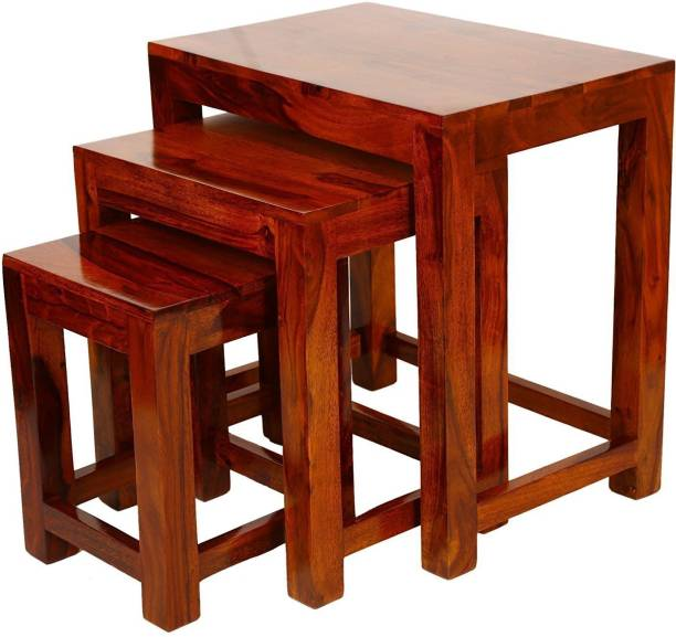 TRUE FURNITURE Sheesham Wood Nesting Tables Set of 3 Stools | Brown Finsih Solid Wood Nesting Table