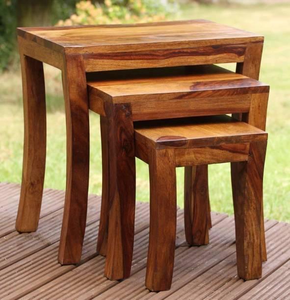 TRUE FURNITURE Sheesham Wood Nesting Tables Set of 3 Stools | Honey Finsih Solid Wood Nesting Table