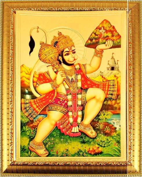 SUNINOW Bajrang Bali Hanuman Ji God Photo with Frame for Pooja    Golden Photo Frame for Temple    Photo Frame for Wall Decorative    God Idol    Golden God Photo for Pooja Mandir    Photo Frame Religious Frame