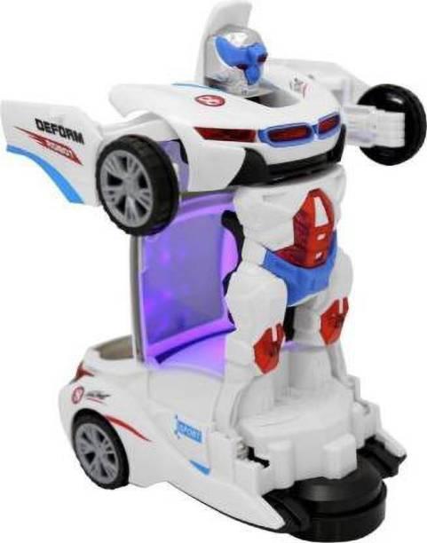 Tenmar Deformation Transformer Robot Car for Kids (White)