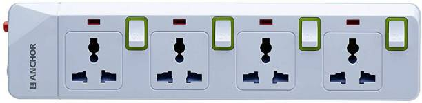 Anchor By Panasonic Smart Anchor Spike Guard 4 Socket + 4 Switch, 10A 4  Socket Extension Boards