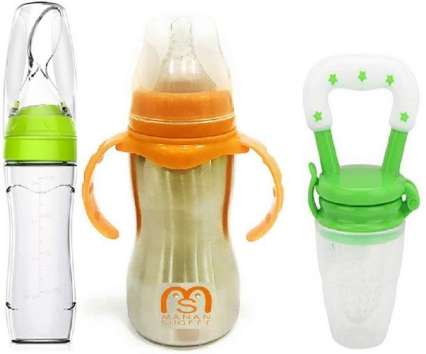 Manan Shopee Baby Food Feeder Steel 2 In 1 Bottle & Fruit Nibbler -Combo Set