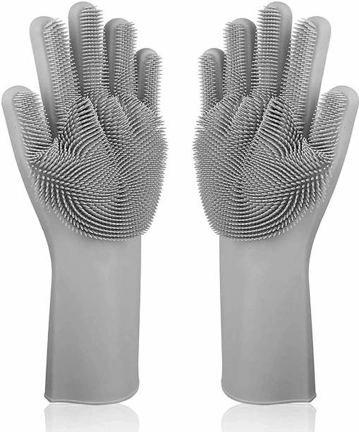 Glancing Reusable Rubber Silicon Household Safety Wash Scrubber Heat Resistant Kitchen Gloves for Dish washing, Cleaning, Gardening Wet and Dry Glove hand gloves for kitchen Wet and Dry Glove (Free Size) Wet and Dry Glove