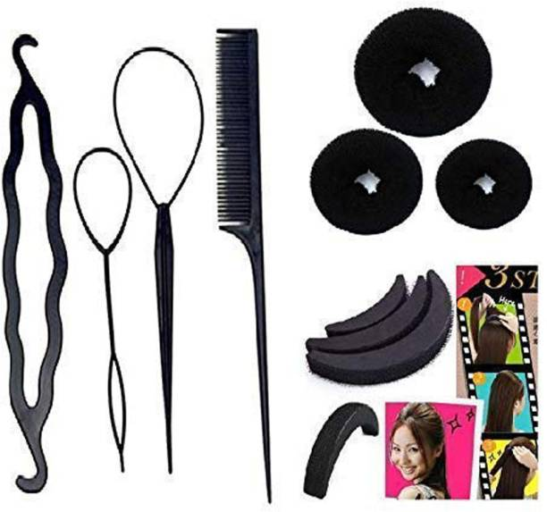 BELLA HARARO Hair Accessories Hair Styling Tools Bun Maker Combo Offer With Best Prices -Combo of 10 Pcs Hair Accessory Set