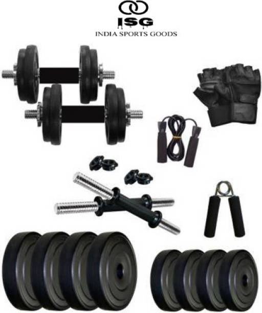 ISG India Sports Goods (2.5 X 4=10Kg) Pvc Plates with Accessories for Home Gym Combo Home Gym Kit