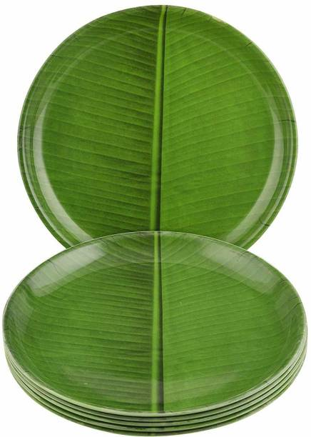 Dine With Us Microwave Safe Round Banana Leaf Print Green Melamine Quarter Plates Freezer Safe Set Of 6 Quarter Plate