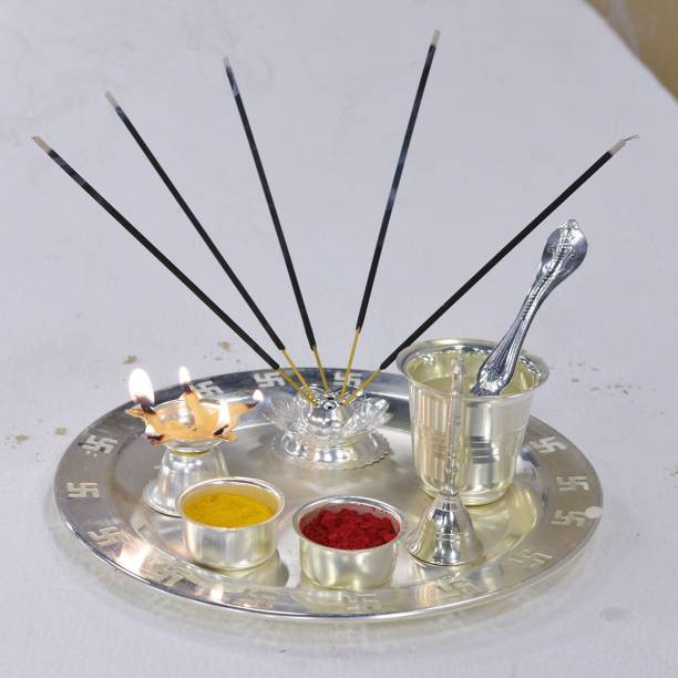 Crypton 8 Pcs Pooja Set of 2 Silver Plated