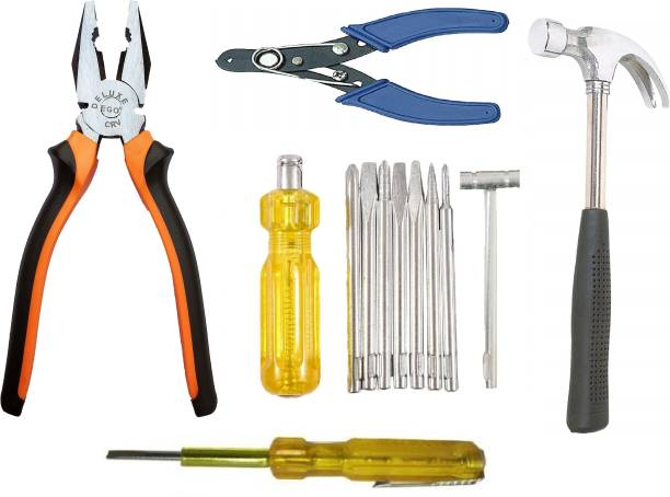 INDITRUST Hand Tool Kit 8 in 1 screwdriver set 1 pliers 1 wire cutter 1 hammer 1 tester Hand Tool Kit