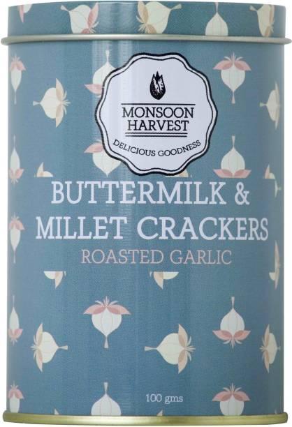 Monsoon Harvest Buttermilk and Millet Crisp Baked Crackers, Roasted Garlic 100 grams Crackers