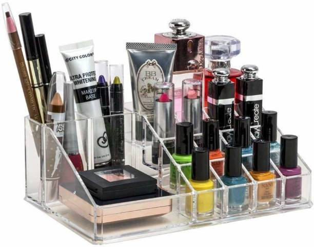 FLYNGO Acrylic Vanity Box Cosmetics Organizer Lip Stick Nail Polish Stand Make up Storage Box Brush Holder Plastic jewelry Storage Makeup Jewelry Cosmetics Cream Vanity Box