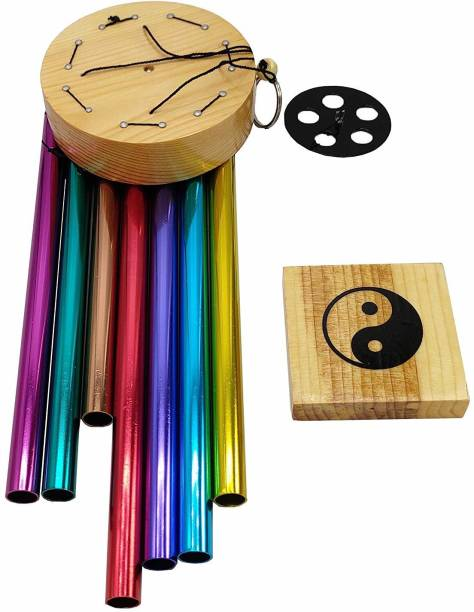 shanol home decor multicolour pipes Wind Chime Hanging for Home, Balcony, Garden Gallery Office Bedroom with Good Sound Quality The Positive Energy for home decoration Aluminium, Wood Windchime