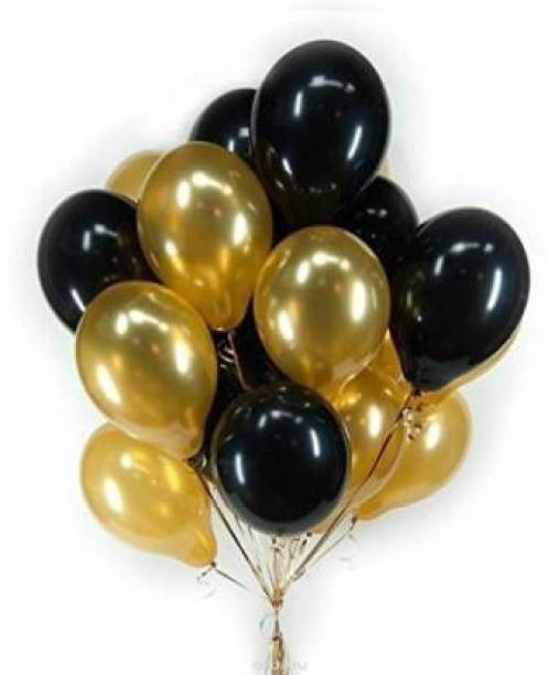 atul gift & toys Solid golden and black hd 50 ballons Balloon