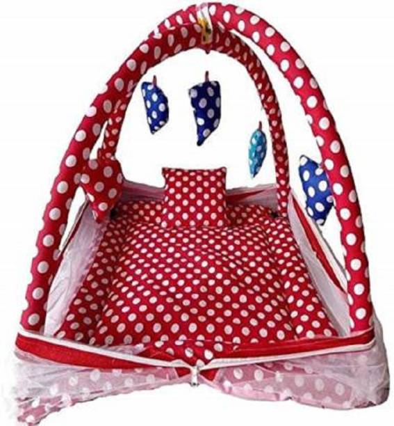little monkeys New Born Baby Bedding Sets with Mosquito Net and Baby Play Gym with Net | Infants Cotton Bed,-P (red)