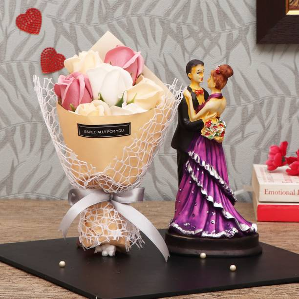 TIED RIBBONS Valentine Gifts for Girlfriend Boyfriend Husband Wife Girls Boys - Special Gift Pack (Couple Showpiece Figurine and Bouquet of Scented Rose Flowers) Assorted Gift Box
