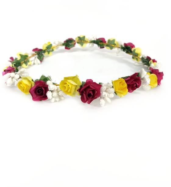 New Jaipur Handicraft Hukum Mere Aaka Multicolor Flower Head Tiara / Hair Band / Crown Band for Women / Multicolor Bridal Tiara For Wedding Head Band