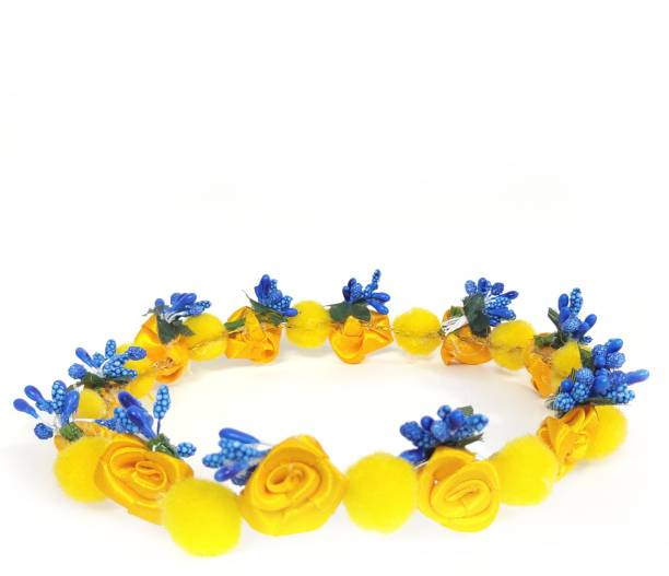 New Jaipur Handicraft Hukum Mere Aaka Flower Pearl Tiara / Hair Band / Crown Band for Women / Blue Bridal Tiara For Wedding Head Band