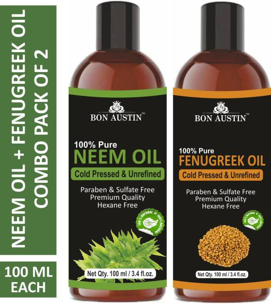 Bon Austin 100% Pure & Natural Neem Oil & Fenugreek Oil Combo pack of 2 bottles of 100 ml(200 ml) Hair Oil