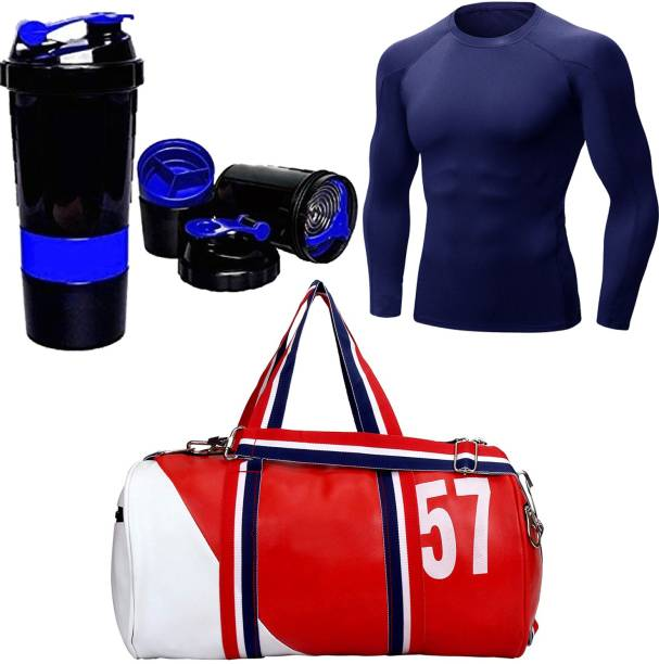 5 O' CLOCK SPORTS Gym & Fitness Combo Set, Include Red 57 Leather Duffel Gym Bag Blue Spider Blue Compression Top-38 (M) Gym & Fitness Kit Gym & Fitness Kit