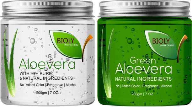 Bioly Organic Crystal Clear Aloe Vera Gel & Green Aloe Vera Gel(Perfect Base before Makeup) (Pack of 2) Primer  - 400 g